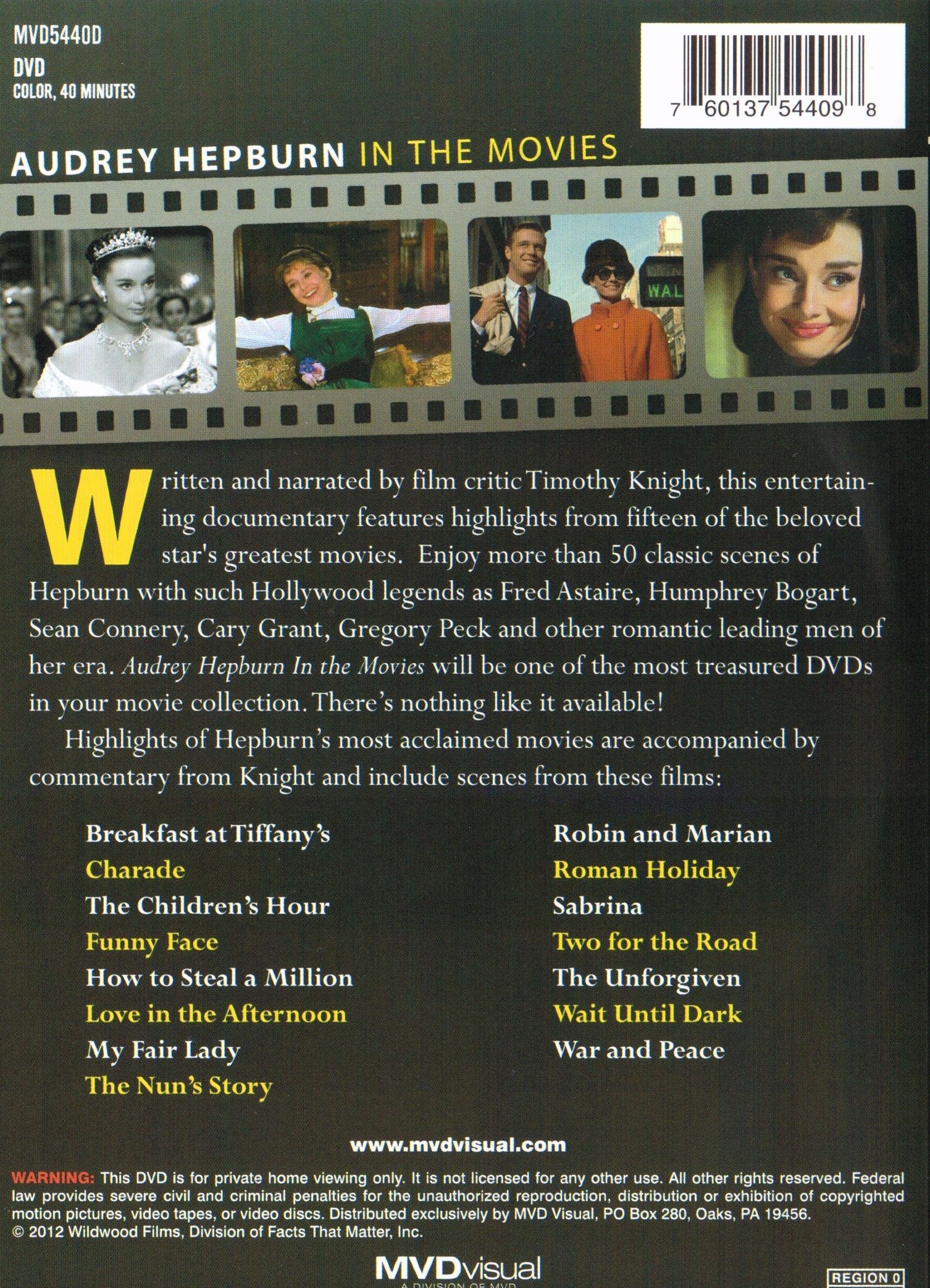 Audrey Hepburn In The Movies DVD back cover
