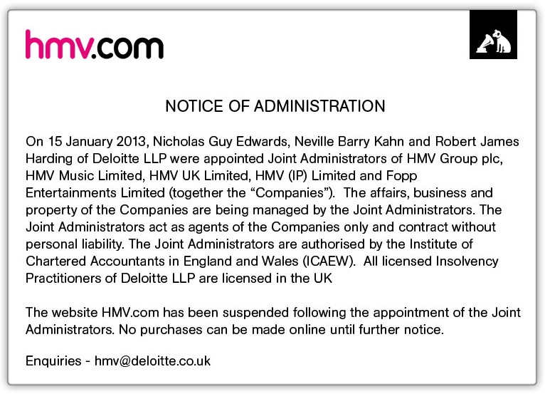 HMV notice of administration from Deloitte