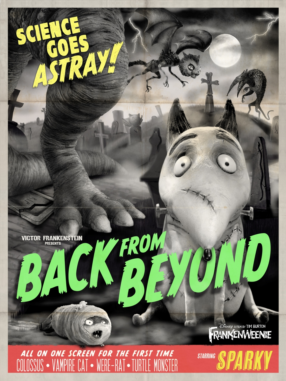 Frankenweenie poster Back From Beyond Tim Burton Sparky