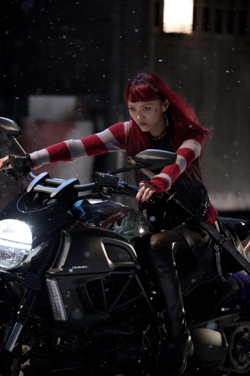 The-Wolverine-Rila-Fukushima-as-Yukio on a bike
