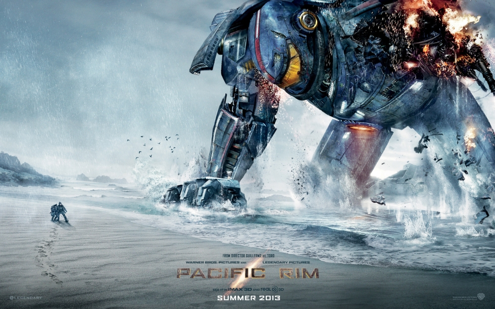 Pacific Rim poster jaeger robot fallen on beach arm destroyed