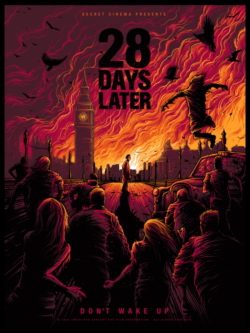 Secret Cinema 28 DAYS Later poster artwork by daniel mumford